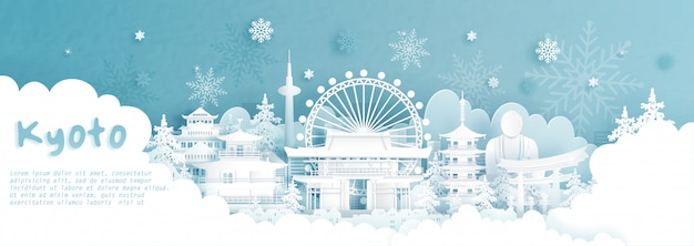 Панорама открытки и путешествия плакат всемирно известных достопримечательностей киото, япония