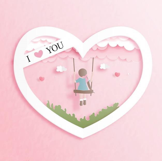 Карточка валентинок с милой девушкой в форме сердца в иллюстрации стиля отрезка бумаги.