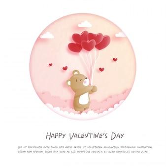 紙でかわいいテディベアとバレンタインカードは、スタイルの図をカットしました。
