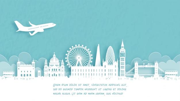 Туристический плакат с добро пожаловать в лондон, англия