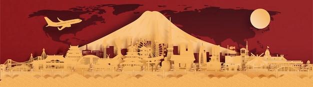 旅行のバナー、ポストカード、広告、赤と金の背景の日本、都市、スカイラインの有名なランドマーク