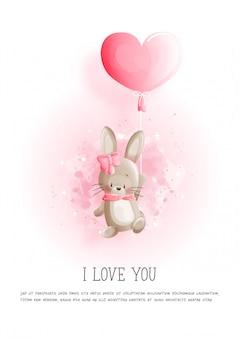 かわいいバニーとハートの風船とバレンタインのカード