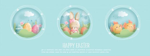 Пасхальная открытка с милый зайчик и пасхальные яйца.