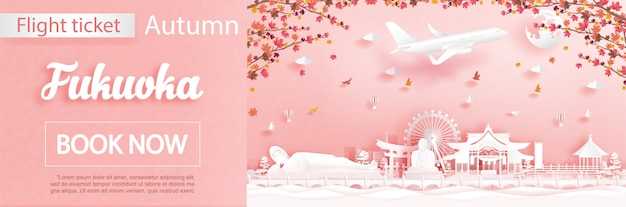 秋の季節に福岡への旅行とフライトとチケットの広告テンプレートは、落ちてくるカエデの葉と紙のカットスタイルで有名なランドマークを扱います