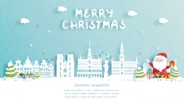 Рождественская открытка с путешествием в бельгию концепции. милый санта и подарочные коробки. всемирно известный ориентир в бумаги вырезать стиль иллюстрации.