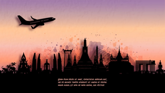Акварель бангкок, таиланд силуэт горизонта и знаменитой достопримечательностью.