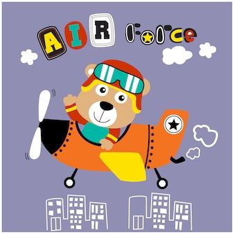 Медведь маленький пилот смешной мультфильм животных, векторная иллюстрация