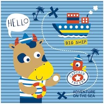 船乗り面白い動物漫画、ベクトルイラストを牛します。