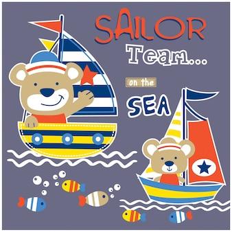 Медведь и мышь моряк команды забавный мультфильм животных, векторная иллюстрация