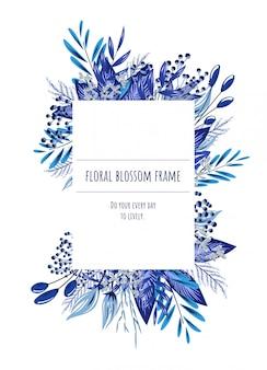 招待状とグラフィックのための青い花のフレーム。
