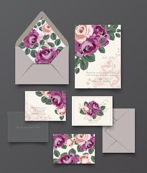 紫のバラの招待状のカードと手紙のコレクションテンプレート。
