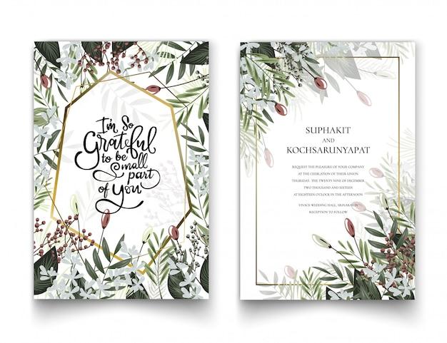 招待状やグラフィック用の花のフレーム。