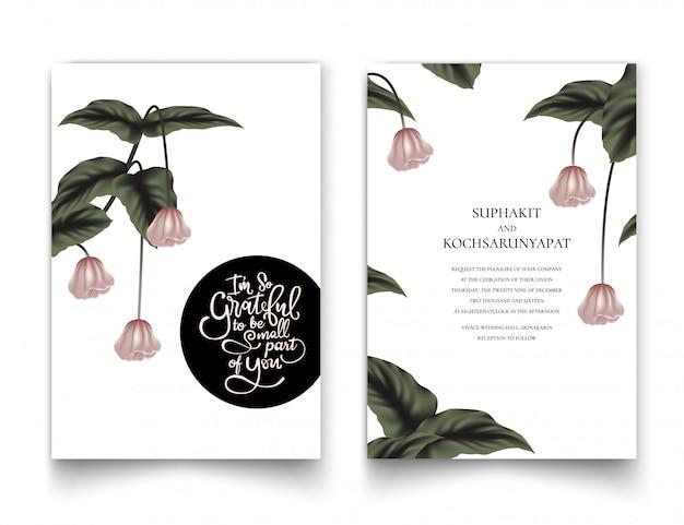 招待状のピンクの花のフレーム。