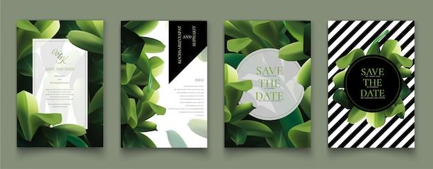 緑の葉を持つカードのセットです。