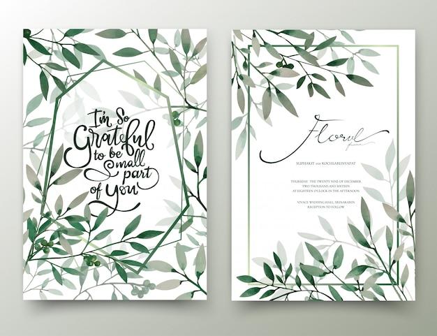 水彩の手描きの葉の招待状。