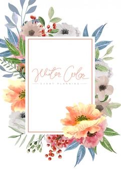 水彩のマルチカラーの花の背景、