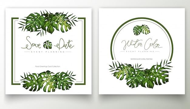 Пальмовые листья акварель ручной росписью кадр.