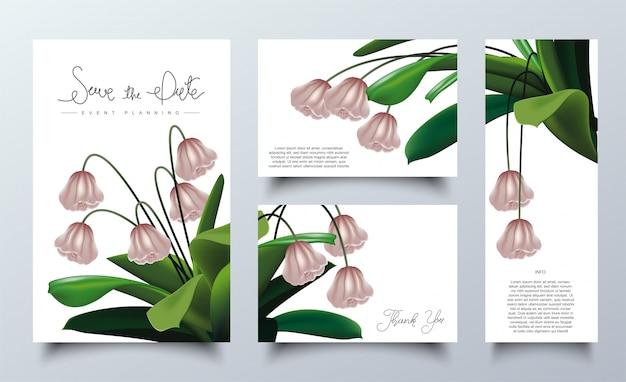 招待状カードのテンプレートのピンクの花のフレーム