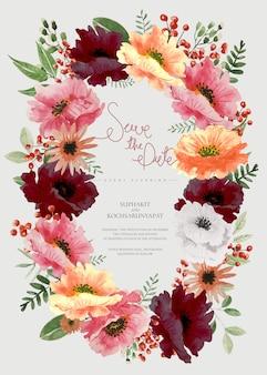 水彩のマルチカラーの花のフレーム。日付を保存