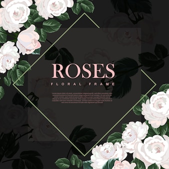Белая роза рамка шаблон.