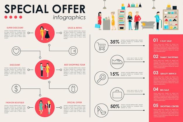 Торговый центр инфографические плоские веб-векторные иллюстрации