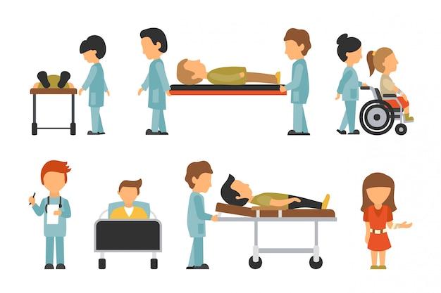 医師スタッフ、フラット、白背景、医者、看護婦、ケア、人々ベクトルに隔離