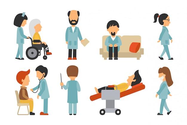 医療スタッフフラット、白背景、医者、看護婦で隔離されています。あなたのために編集可能なグラフィック