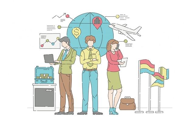 国際ビジネスイラストコンセプト。管理、協力、パートナーシップの象徴。