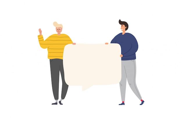 一緒に立って、空白のバナーを保持している友人の幸せなグループ。フラット漫画のカラフルなイラスト。