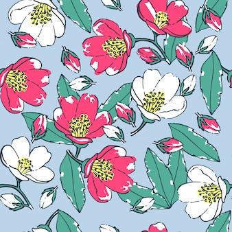 青色の背景にシームレスな花柄。手描きの花と葉
