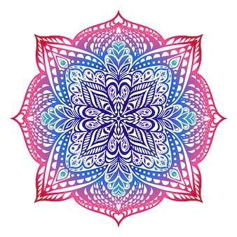 Мандала в восточном стиле. красно-фиолетовая гамма. градиентная заливка