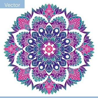 彩色された装飾曼荼羅。東洋の柄