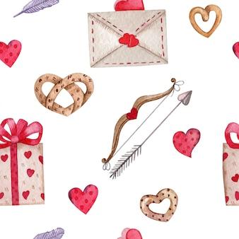 バレンタインデーのためのシームレスなパターン