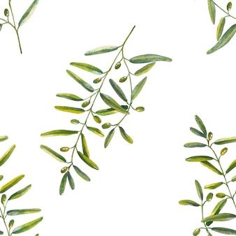 水彩画のオリーブの枝のシームレスパターン
