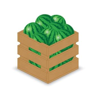 木製の箱のスイカ