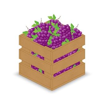 木製の箱の中の紫色の赤い青い葡萄