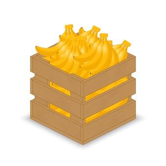 木製の箱のバナナ