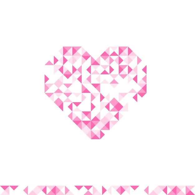抽象的な幾何学模様ハートシンボルピンク色