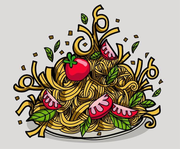 スパゲティとトマトソースの新鮮な食べ物