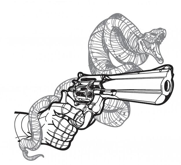 Тату змея и пистолет