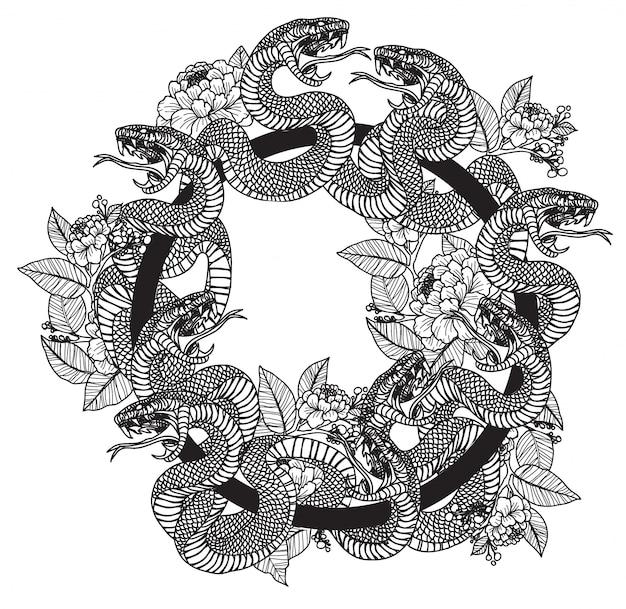 Тату змея и цветы