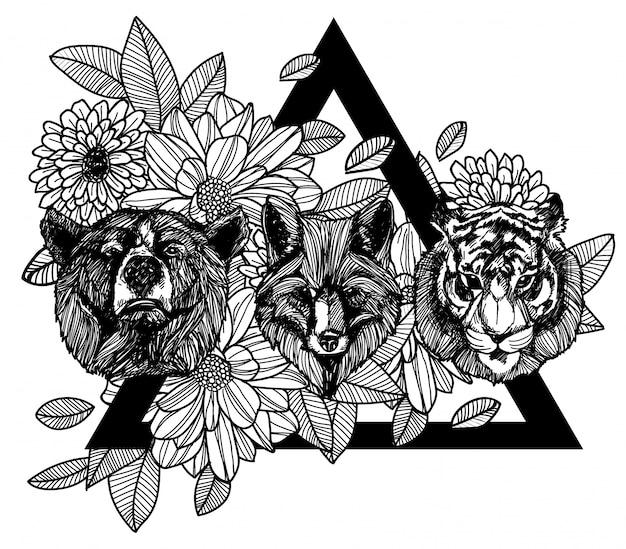 タトゥー手描きのフォックスベアとトラ