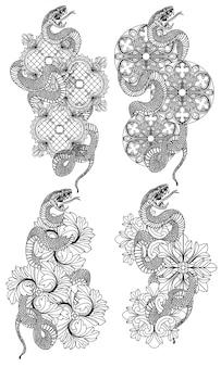 タトゥーアートスネーク手描きとラインアートイラストと白黒スケッチ