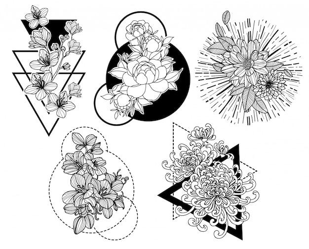 タトゥーアートの花の手描きとラインアートイラストと黒と白のスケッチ