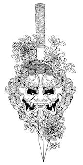 タトゥーアート戦士の頭と花の手描きとスケッチ