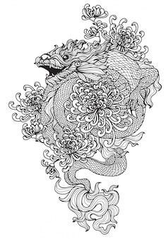 タトゥードラゴンと花の手描きと分離されたラインアートイラストスケッチ