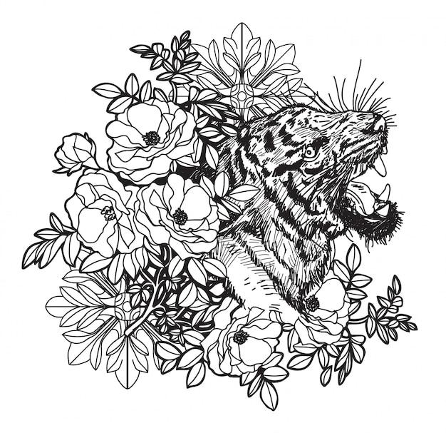 タトゥーアートトラ手描きと分離されたラインアートイラストと黒と白のスケッチ