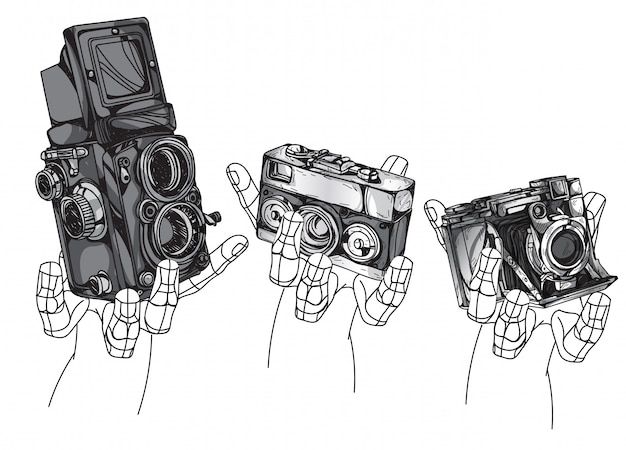 ビンテージカメラ手描きの白い背景で隔離。