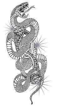 手が白い背景で隔離のスネークとリングのタトゥーアートを描きます。