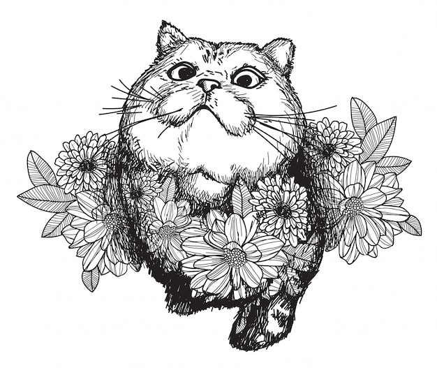 タトゥーアート猫と花の描画と白い背景で隔離のラインアートイラストとスケッチします。